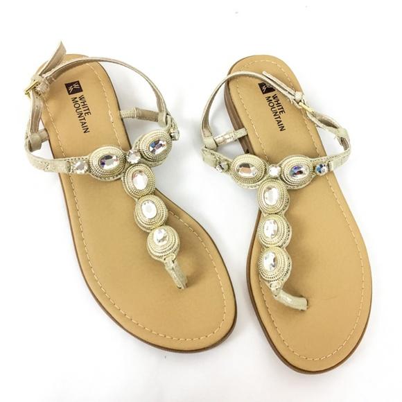 2cc9e8917 White Mountain Sandal  GLOW  Gold Metallic Jeweled
